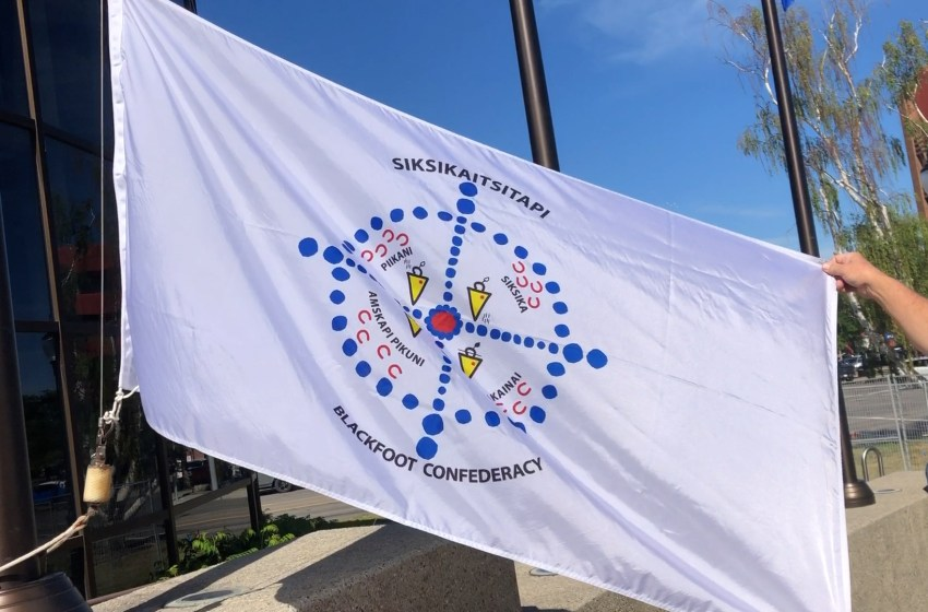 Blackfoot Confederacy flag raised in Lethbridge in observance of National Indigenous Peoples Day