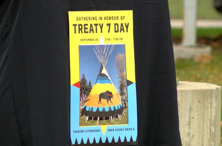 Community members gather to honour the signing of Treaty 7 in Lethbridge