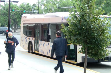Transit riders rally outside of city hall on Saturday raising concerns on new cityLINK Network